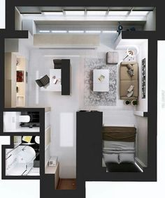 Ultimate Studio Design Inspiration: 12 Gorgeous Apartments Artists, young professionals, and just those people who want a simpler life are all good candidates for a studio apartments. These living spaces that have littl Studio Apartment Floor Plans, Studio Apartment Layout, Studio Layout, Studio Apartment Decorating, Studio Design, Small Apartment Plans, Small Apartment Layout, Apartment View, Apartment Interior