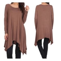 "New - Mocha Solid Knit Tunic Top This tunic top with long sleeves has an asymmetric trapeze hem. 95% Rayon 5% Spandex. Full length 30"". Small - underarm to underarm 19"", sleeves 23"". Medium- full length 32"", underarm to underarm 20"", sleeves 23.5"". Large- full length 32"", underarm to underarm 21"", sleeves 24"". Please ask questions if you are not sure. Tops Tunics"