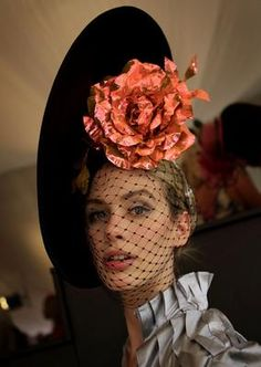 Adore this hat and veil...loue color combinations uia blk orange n gray silk...loue hat