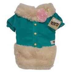 Vestido para Cachorro Veludo Cotelê com Pelo Verde Dudog Vest - MeuAmigoPet.com.br #petshop #cachorro #cão #meuamigopet