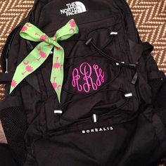 This is the backpack I have for fall so I definitely have to get it monogrammed Preppy Southern, Southern Belle, Southern Prep, Preppy Style, My Style, Prep Life, School Essentials, Girl Backpacks, North Face Backpack