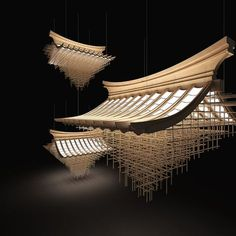 "Disappearing Great Roof by Liang Chen from Korea - Inspired by the ""Great Roof"" in traditional oriental architecture. Asian Architecture, Interior Architecture, Conceptual Architecture, Futuristic Architecture, Ancient Architecture, Stage Design, Booth Design, Light Art, Restaurant Design"