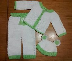 Conjuntos Ajuar Bebe, Crochet, Pantalon + Saquito + Gorrito! talle 0-1m- $ 465,00