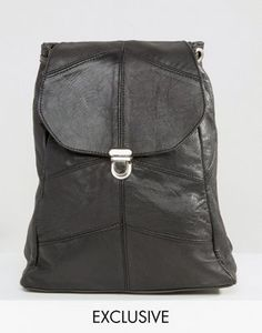 Reclaimed Vintage Leather Pushlock Mini Leather Backpack