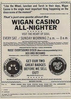 """Wigan Casino poster - Good old """"Northern Soul"""" all nighters. Now the absolute mutt's nuts in Japan. They are currently obsessed with what was originally the British obsession with Northern Soul from the Northern England, Sweet Soul, Northern Soul, Keep The Faith, Mp3 Song, Soul Music, Motown, Good Old, Songs"""