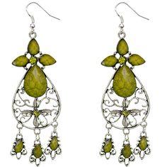 Get fancy in these green dangle earrings.