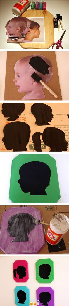 tuTORIal: DIY Vintage Pop Silhouettes -- put on colorful scrap paper, place in frame (painted or plain), hang on wall :) I put these up with hooks under each in my laundry room for kids coats and book bags! Kids Crafts, Cute Crafts, Crafts To Do, Arts And Crafts, Paper Crafts, Diy Projects To Try, Craft Projects, Craft Ideas, Photo Projects