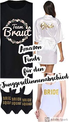 In diesem Blogpost findet ihr 10 Amazon Produkte für den Junggesellinnenabschied. Must - haves, die auf keinen Fall fehlen dürfen. #amazonmusthaves #amazonprodukte #junggesellinnenabschied #ideenfürdenjunggesellinnenabschied #poltern #polterideen #bridetobe #jga Bride Squad, T Shirt, Tops, Women, Fashion, Team Bride, Products, Wedding, Supreme T Shirt