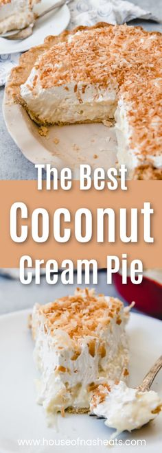 This old-fashioned Coconut Cream Pie is the stuff dreams are made of. Flaky, buttery crust filled with a creamy, homemade custard and topped with lots of whipped cream and toasted coconut! It's heaven for coconut lovers. @houseofnasheats #coconutcreampie #pie Sugar Cream Pie Recipe, Cream Pie Recipes, Easy Pie Recipes, Coconut Recipes, Coconut Cream Pie Filling Recipe, Amazing Recipes, Potato Recipes, Pasta Recipes, Crockpot Recipes