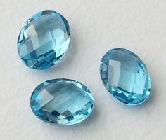 3 Pcs Swiss Blue Topaz Oval Stones 6x8mm Original by gemsforjewels