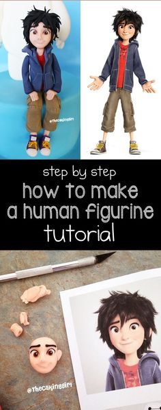 How to make a human figurine tutorial Hiro from Big Hero 6 cake topper DIY step by step video www.thecakinggirl.ca: