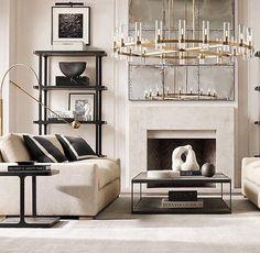 Elegant Home Decor, Luxury Home Decor, Elegant Homes, Luxury Homes, Diy Esstisch, Modul Sofa, Black And White Living Room, Black White, Round Chandelier