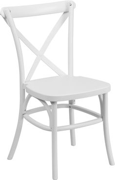 Stackable Bistro Style Chair, 1000 lb. Weight Capacity, Stacks up to 10 Chairs High, White Resin Finish, Cross Back Design, Constructed from virgin polypropylene, UV Protected Polypropylene, Waterproof Design, No Repainting, solid color throughout chair, Metal Core Leg Tubing, Patented downward ''U'' design adds stability, Designed for Indoor and Outdoor Use, Designed for Commercial and Residential Use, Ships Fully Assembled