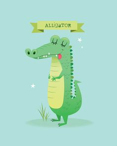 A set of vector animals Illustration Crocodile, Children's Book Illustration, Illustration Animals, Nursery Canvas, Nursery Art, Alice In Wonderland Diy, Animals And Pets, Cute Animals, Baby Posters