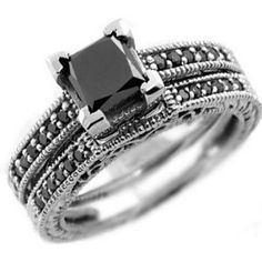 #blackdiamondengagementrings Up for sale is this beautiful black diamond princess-cut engagement ring set.The engagement ring is set with natural AAA black diamond and accented with fancy-black diamonds. The ring set is made of solid 14k white gold. - See more at: http://blackdiamondgemstone.com/jewelry/wedding-anniversary/wedding-rings/gorgeous-196ct-princesscut-black-diamond-engagement-ring-set-14k-white-gold-com/