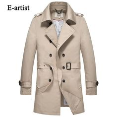 Men's Long Double Breasted Trench Coat with Belt Male Slim Fit Business Casual Coats Jackets Outerwear Overcoat