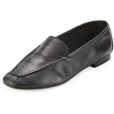 Andr? Assous Abigail Leather Driving Loafer ($97) ❤ liked on Polyvore featuring shoes, loafers, black, leather footwear, leather slip-on shoes, kohl shoes, andre assous shoes and slip-on shoes