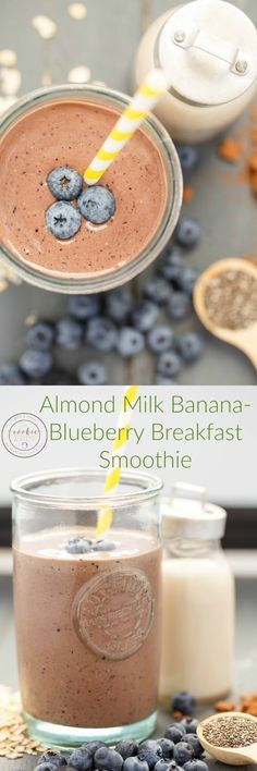 Almond Milk Banana-Blueberry Breakfast Smoothie | http://thecookiewriter.com | @thecookiewriter | #smoothie (ad) This breakfast smoothie is perfect for back to school when you do not have the time to cook!