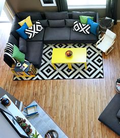 This bold, modern living room seating makeover is perfect for a growing family, thanks to the modular SODERHAMN sofa. Love! #IKEA #ikeahometour #ad
