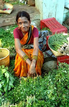 A fresh herbs vendor, India