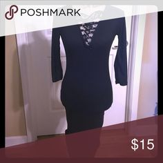 Black tight fitted dress. This sexy dress speaks for itself., has the drawstrings for more revealing or less revealing wear, fits completely snug to your body, and is very comfortable. I bought 2 of these dresses and I don't need this. Never been worn. Rue21 Dresses Midi
