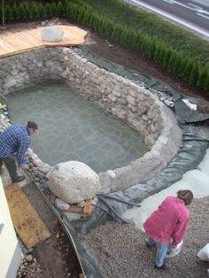 building a new Natural Pool. Uses a natural water filtration system instead of chlorine. Love the ambience it gives-- useful for the gorgeous look even when the weather is too cold for swimming. Diy Swimming Pool, Natural Swimming Pools, Diy Pool, Backyard Projects, Outdoor Projects, Backyard Ideas, Garden Ideas, Diy Projects, Piscine Diy