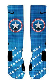 Captain America Captain Shield Nike Elite Socks by UNIQSocks