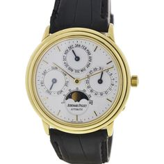 Pre-Owned Audemars Piguet Quantieme Perpetual Calendar Moonphase 18k... (271,950 MXN) ❤ liked on Polyvore featuring jewelry, watches, gold, gold watches, gold jewellery, preowned watches, yellow gold watches and 18k gold jewelry
