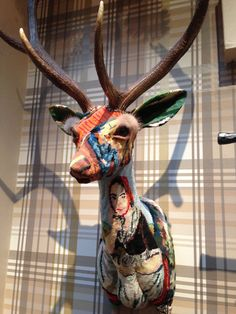 Patchwork needlepoint deer head !