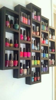 Kitchen Storage Ideas for Small Spaces Nail polish display. This is pretty good, because it looks cool and I have a lot of nail polish. This is pretty good, because it looks cool and I have a lot of nail polish. Smart Kitchen, Kitchen Storage, Bathroom Storage, Kitchen Display, Bathroom Closet, Bathroom Shelves, My New Room, My Room, Dorm Room