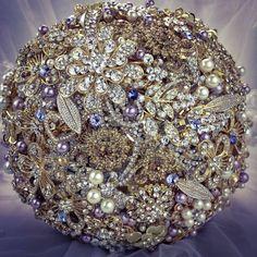 Gold Purple Brooch Bouquet. Swarovski Crystal Brooch Bouquet. Deposit on Amber Topaz Lilac Swarovski Pearl Broach Bouquet.