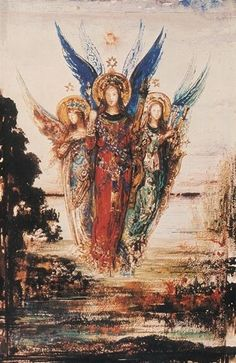 """""""Voice of Evening"""", Gustave Moreau Angels Among Us, Angels And Demons, I Believe In Angels, Guardian Angels, Angel Art, Gustav Klimt, Sacred Art, Religious Art, Oeuvre D'art"""