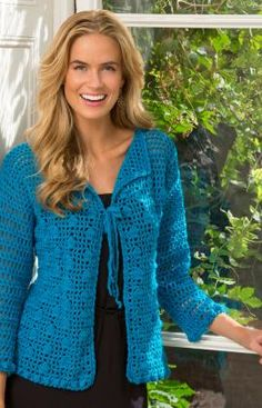 Year-Round Bobble Cardigan - Free Redheart crochet pattern by Ann Regis. Up to 1800m Dk yarn, 4mm hook, sizes Small-2XL