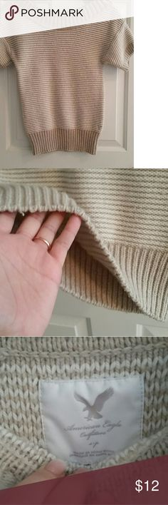 Sweater Shirt American Eagle Sweater top Very thick/warm Size small Tan and white knit American Eagle Outfitters Sweaters Crew & Scoop Necks