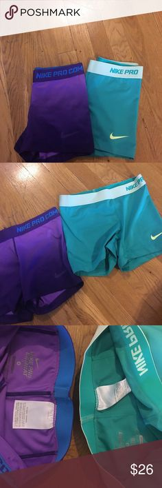 Nike pro Spandex short Purple gradient - dark to light fade (NOT SHADOW). More of a green blue color. Both in Excellent condition so comfortable I'm not sure I'm ready to sell but open of offers ! Nike Shorts