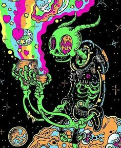 We Want to Live in Gloombones' Grungy Neon Universe is part of Trippy art psychedelic - These gloriously detailed, gleefully gross cartoons are a joy to behold Arte Dope, Dope Art, Trippy Drawings, Art Drawings, Psychedelic Art, Trippy Pictures, Drugs Art, Acid Art, Trippy Painting
