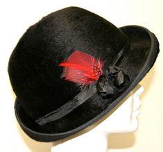 Black Fur Felt Womens Fedora Hat, Long Hair Felt, Red Feathers, Casual Hat