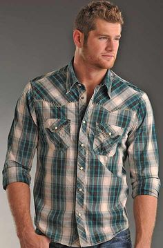 Rock & Roll Cowboy Men's Western Long Sleeve Plaid Snap Shirt with Blank Stitch $62.97