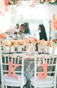 Coral quickly becoming one of the most popular wedding themes for summer wedding. That's the reason, today's I'm sharing you a fabulous Wedding Color Scheme: Peach & coral and grey romantic colours with the cool grey adding the wow factor. Grey Wedding Decor, Wedding Chairs, Wedding Themes, Wedding Decorations, Wedding Coral, Wedding Mandap, Stage Decorations, Wedding Receptions, Reception Ideas