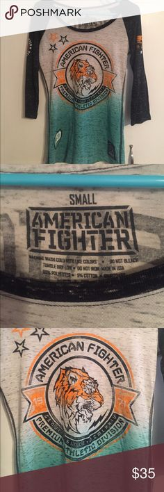 Small American Fighter 3/4 sleeve! Black, grey & teal 3/4 top! It is a small, runs true to size. Very cute & comfy!! & the colors are awesome! ✌🏼 Buckle Tops Tees - Long Sleeve