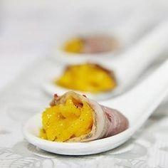 Cuillères apéritives au magret de canard fumé et à la mangue