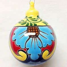 Old World Pottery Mexican Christmas Traditions, Mexican Christmas Decorations, Christmas Balls, Christmas Holidays, Christmas Ornaments, Painted Ornaments, Arte Popular, Talavera Pottery, Xmas Crafts