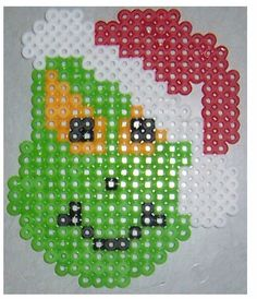 This Grinch done in Perler beads is a great Christmas craft. Kidfolio - the app for parents - kidfol.io