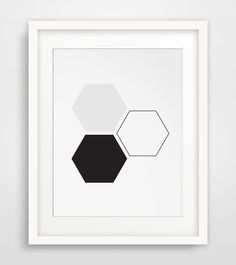 INSTANT DOWNLOAD: Black and white honeycomb wall art    NO PHYSICAL PRINT INCLUDED    ===      Print out this modern wall artwork from your