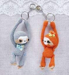 Amigurumi pattern sloth miniature toy pdf crochet tutorial keychain Charm bag Accessories Always aspired to discover ways to knit, although uncertain where to begin? That Complete Beginner Knitting Set is exact. Crochet Animal Patterns, Amigurumi Patterns, Crochet Animals, Cat Amigurumi, Crochet Tutorial, Crochet Keychain Pattern, Crochet Mouse, Cute Keychain, Key Keychain