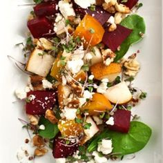 Quinoa Salad with Roasted Beets & Pear Balsamic Vinaigrette Healthy Salads, Healthy Eating, Healthy Recipes, Healthy Foods, Yummy Recipes, Beet Salad, Quinoa Salad, Cooked Quinoa, Whole Food Recipes