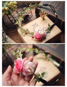 【Barbie】韩国进口 生如夏花 玫瑰花朵度假海边 仿真花发带花环-淘宝网