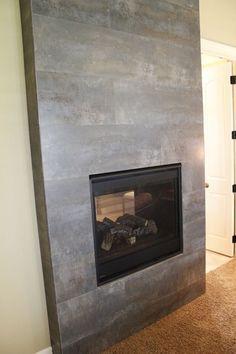 wood finish porcelain tile fireplace surround - Google Search