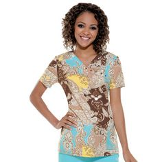Baby Phat Women's Mock Wrap Print Scrub Top | allheart.com (Back & Forth on this one....)