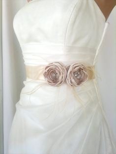 Handcrafted  Champagne Two Flowers Wedding Dress  Bridal Sash Belt. $43.00, via Etsy.